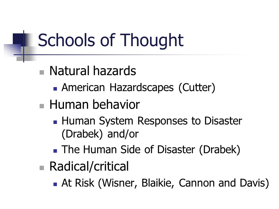 Schools of Thought Natural hazards American Hazardscapes (Cutter) Human behavior Human System Responses to Disaster (Drabek) and/or The Human Side of