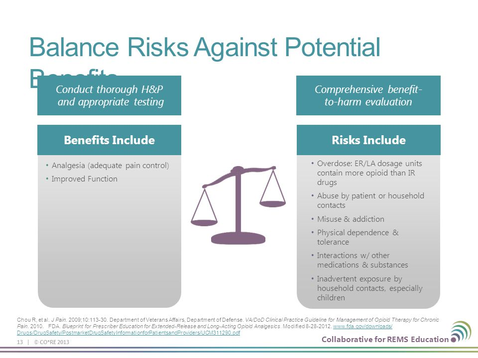 Collaborative for REMS Education Balance Risks Against Potential Benefits 13 | © CO*RE 2013 Conduct thorough H&P and appropriate testing Comprehensive