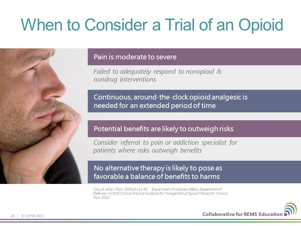 Collaborative for REMS Education 24 | © CO*RE 2013 When to Consider a Trial of an Opioid Pain is moderate to severe Failed to adequately respond to no