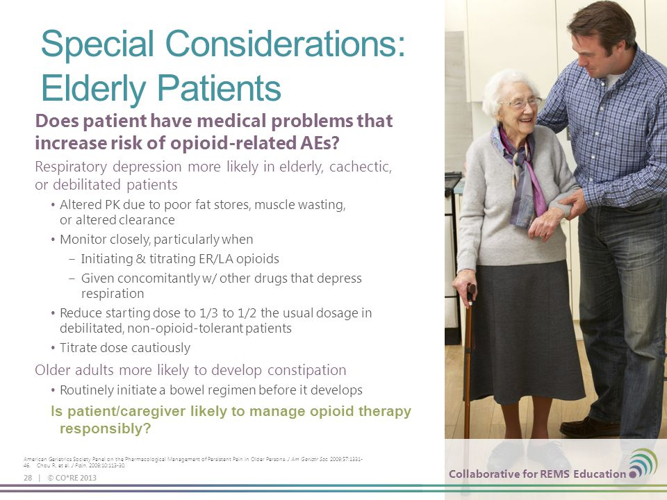 Collaborative for REMS Education Special Considerations: Elderly Patients 28 | © CO*RE 2013 Collaborative for REMS Education American Geriatrics Socie