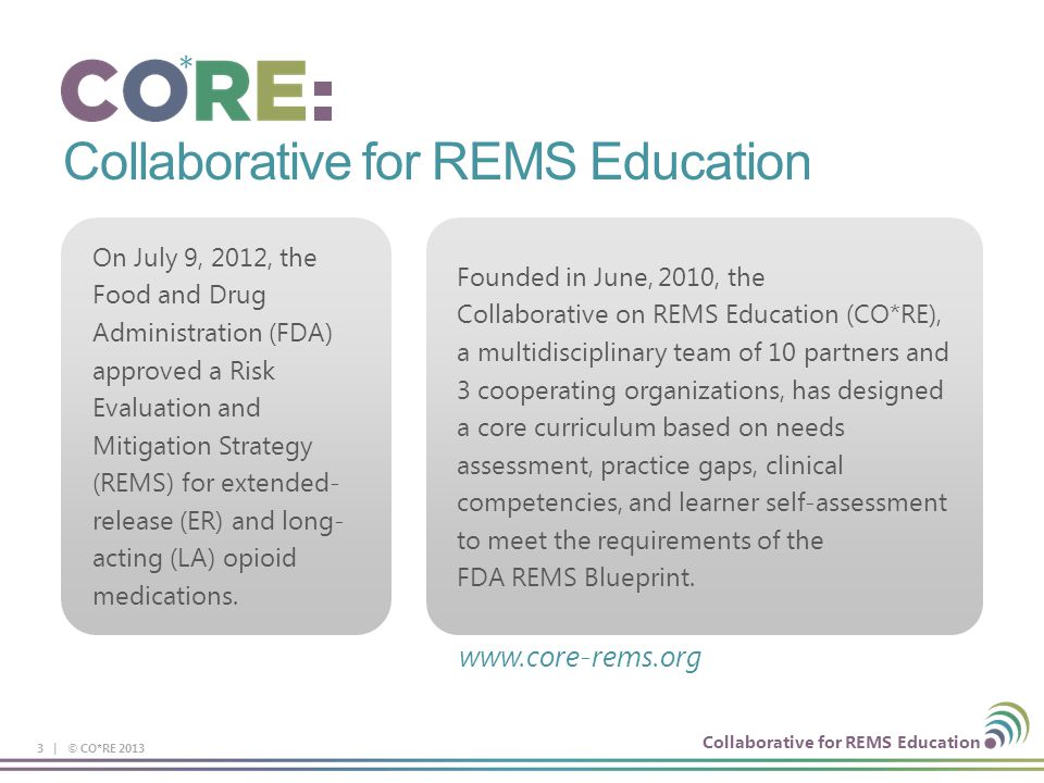 Collaborative for REMS Education Morphine Sulfate ER Capsules (Avinza) Dosing interval Once a day Key instructions Initial dose in opioid non-tolerant patients is 30 mg Titrate using a minimum of 3-d intervals Swallow capsule whole (do not chew, crush, or dissolve) May open capsule & sprinkle pellets on applesauce for patients who can reliably swallow without chewing; use immediately MDD:* 1600 mg (renal toxicity of excipient, fumaric acid) Drug interactions Alcoholic beverages or medications w/ alcohol may result in rapid release & absorption of potentially fatal dose PGP* inhibitors (e.g., quinidine) may increase absorption/exposure of morphine by ~2-fold Opioid-tolerant 90 mg & 120 mg capsules for use in opioid-tolerant patients only Product-specific safety concerns None * MDD=maximum daily dose; PGP= P-glycoprotein 94 | © CO*RE 2013 FDA.