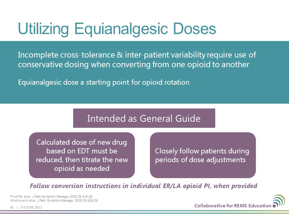 Collaborative for REMS Education Utilizing Equianalgesic Doses 41 | © CO*RE 2013 Incomplete cross-tolerance & inter-patient variability require use of
