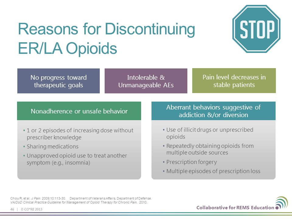 Collaborative for REMS Education Reasons for Discontinuing ER/LA Opioids 46 | © CO*RE 2013 No progress toward therapeutic goals Intolerable & Unmanage