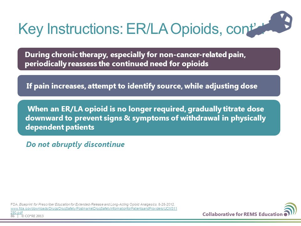 Collaborative for REMS Education Key Instructions: ER/LA Opioids, cont'd 86 | © CO*RE 2013 When an ER/LA opioid is no longer required, gradually titra