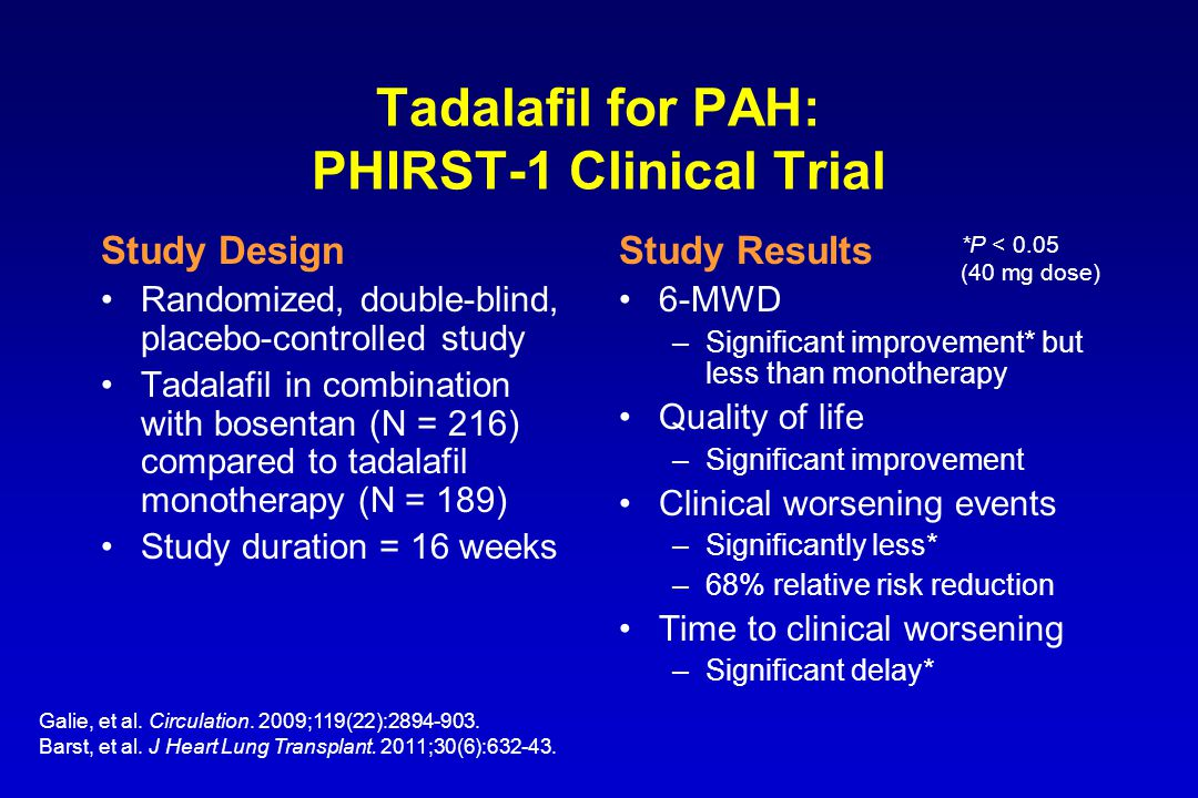 Tadalafil for PAH: PHIRST-1 Clinical Trial Study Design Randomized, double-blind, placebo-controlled study Tadalafil in combination with bosentan (N =