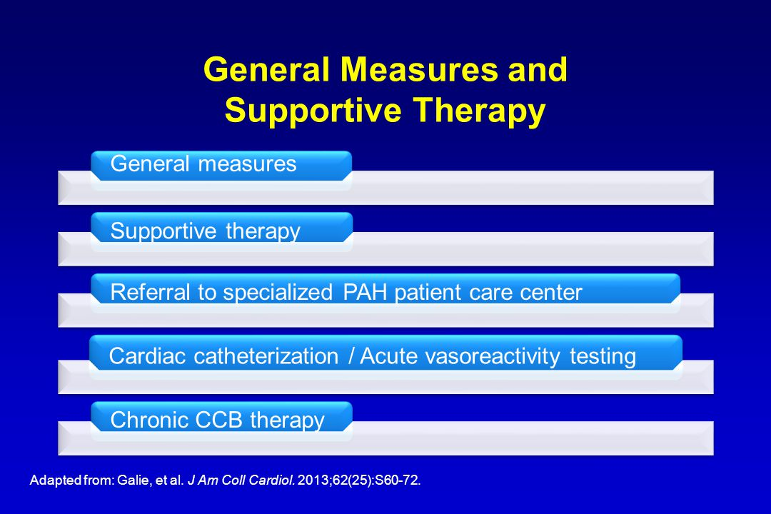 General Measures and Supportive Therapy Adapted from: Galie, et al. J Am Coll Cardiol. 2013;62(25):S60-72.