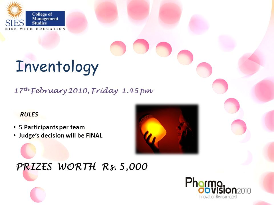 17 th February 2010, Friday 1.45 pm Inventology 5 Participants per team Judge's decision will be FINAL RULES PRIZES WORTH Rs.