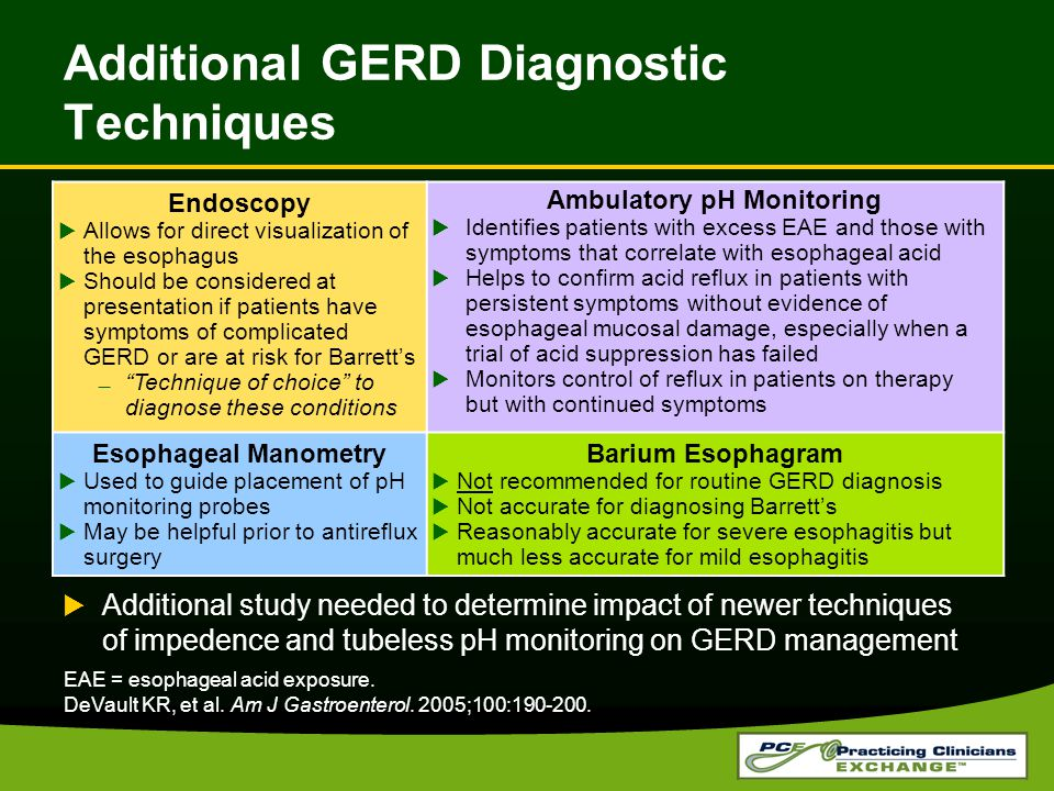Additional GERD Diagnostic Techniques  Additional study needed to determine impact of newer techniques of impedence and tubeless pH monitoring on GERD management EAE = esophageal acid exposure.