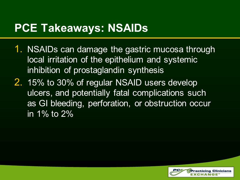 PCE Takeaways: NSAIDs 1.