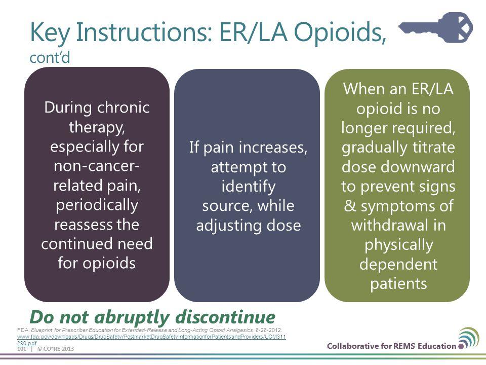 Collaborative for REMS Education 101 | © CO*RE 2013 Collaborative for REMS Education Do not abruptly discontinue FDA. Blueprint for Prescriber Educati