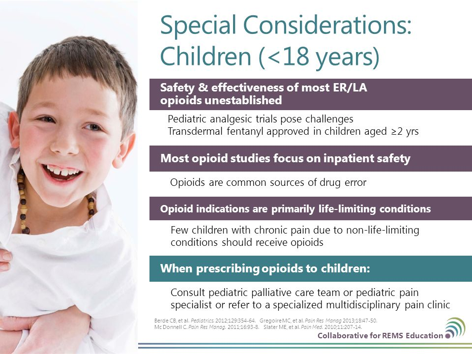 Collaborative for REMS Education Special Considerations: Children (<18 years) 31 | © CO*RE 2013 Safety & effectiveness of most ER/LA opioids unestabli