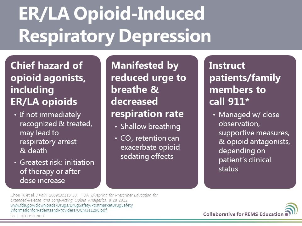 Collaborative for REMS Education 38 | © CO*RE 2013 Chief hazard of opioid agonists, including ER/LA opioids If not immediately recognized & treated, m