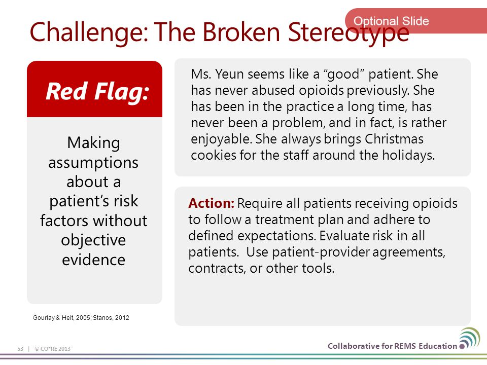 Collaborative for REMS Education Challenge: The Broken Stereotype 53 | © CO*RE 2013 Action: Require all patients receiving opioids to follow a treatme