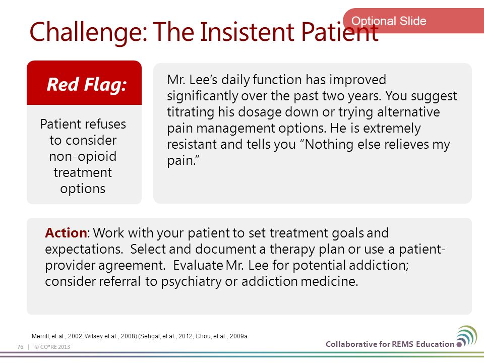 Collaborative for REMS Education Challenge: The Insistent Patient 76 | © CO*RE 2013 Mr. Lee's daily function has improved significantly over the past