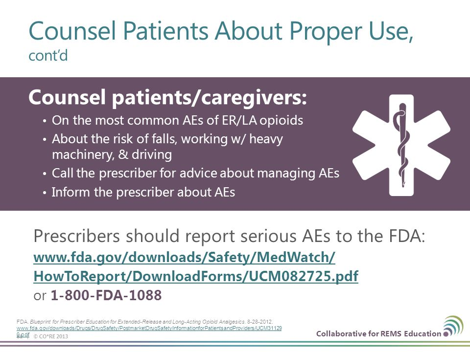 Collaborative for REMS Education Counsel Patients About Proper Use, cont'd 81 | © CO*RE 2013 Counsel patients/caregivers: On the most common AEs of ER