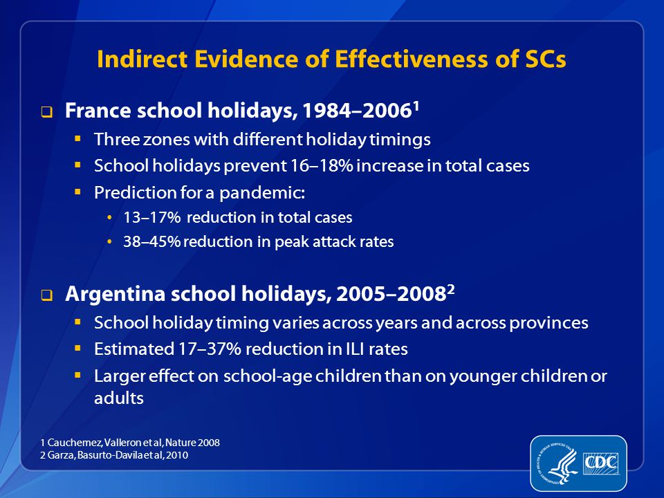 Indirect Evidence of Effectiveness of SCs  France school holidays, 1984–2006 1  Three zones with different holiday timings  School holidays prevent 16–18% increase in total cases  Prediction for a pandemic: 13–17% reduction in total cases 38–45% reduction in peak attack rates  Argentina school holidays, 2005–2008 2  School holiday timing varies across years and across provinces  Estimated 17–37% reduction in ILI rates  Larger effect on school-age children than on younger children or adults 1 Cauchemez, Valleron et al, Nature 2008 2 Garza, Basurto-Davila et al, 2010