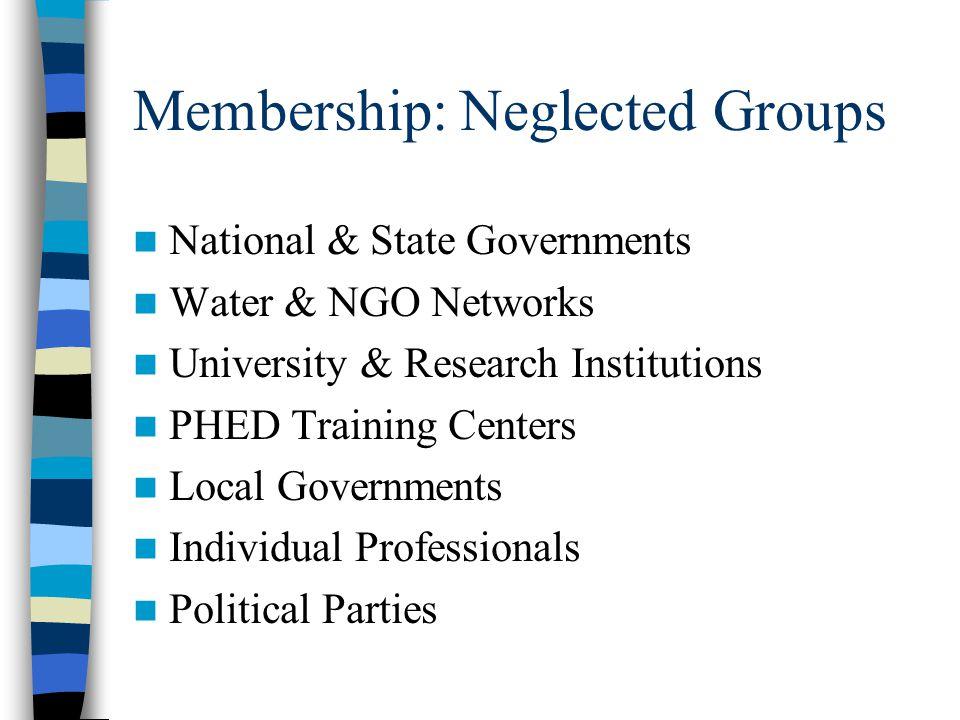 Membership: Under representation National level NGOs, e.g. CSE, NFI, PRIA, SPWD & Sulabh. Professional bodies, e.g. NIUA, IDFC, NCAER, PRADAN, RGF, NI