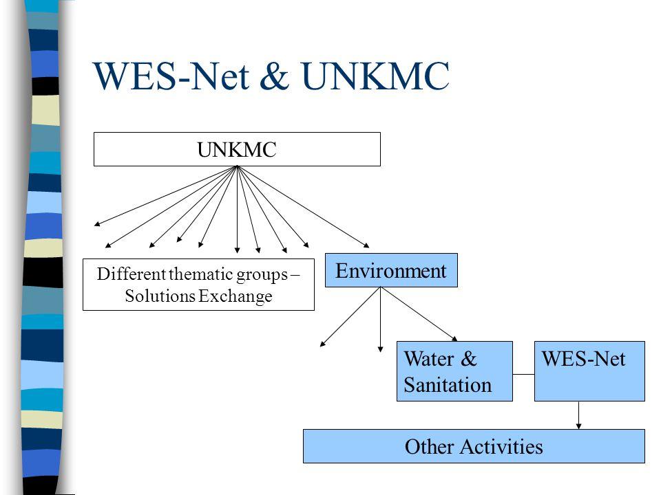 WES-Net Activities & Linkages Activities undertaken by WES-Net (WES-Net products) Activities undertaken by members on behalf of WES-Net (WES-Net produ