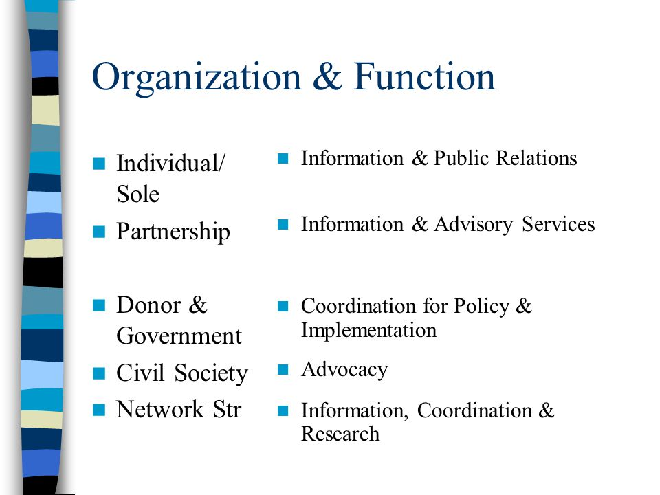 Common Activities of Networks Advisory Advocacy Capacity Building Coordination Information (and Communication) Public Relations Research