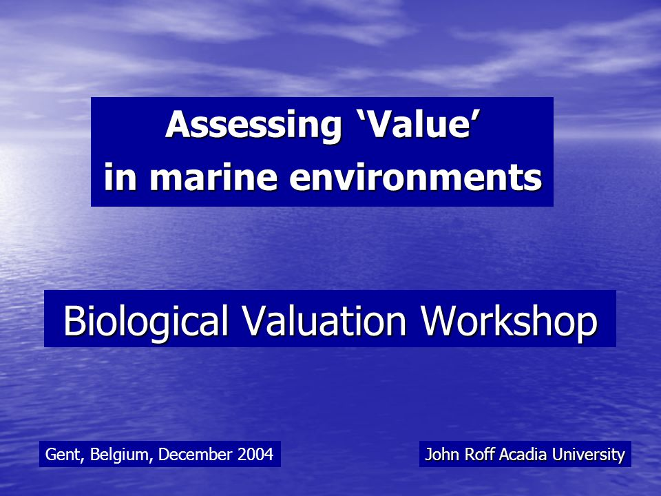 What constitutes 'V alue ' in marine environments.