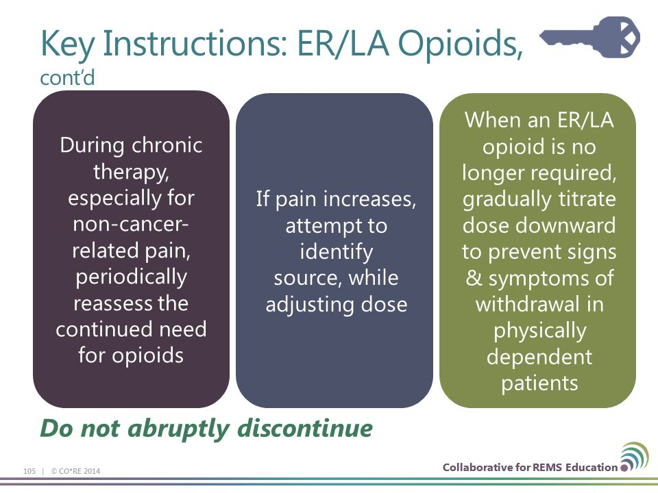 Collaborative for REMS Education 105 | © CO*RE 2014 Collaborative for REMS Education Do not abruptly discontinue If pain increases, attempt to identif