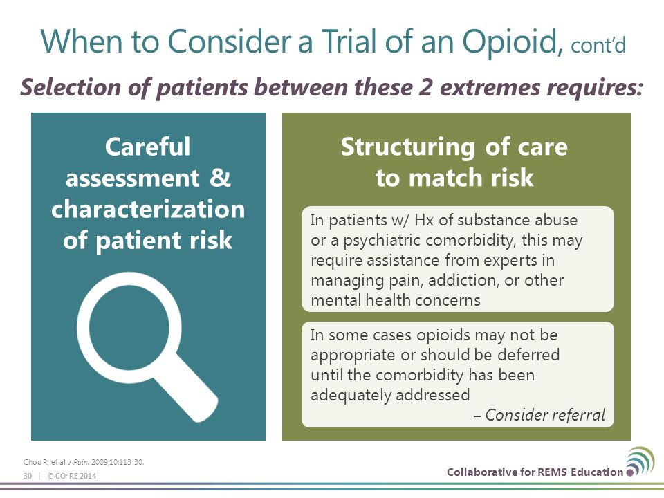 Collaborative for REMS Education 30 | © CO*RE 2014 Selection of patients between these 2 extremes requires: Careful assessment & characterization of patient risk Structuring of care to match risk In patients w/ Hx of substance abuse or a psychiatric comorbidity, this may require assistance from experts in managing pain, addiction, or other mental health concerns In some cases opioids may not be appropriate or should be deferred until the comorbidity has been adequately addressed ‒Consider referral Chou R, et al.