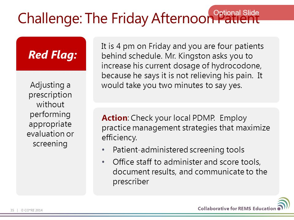 Collaborative for REMS Education Challenge: The Friday Afternoon Patient 35 | © CO*RE 2014 It is 4 pm on Friday and you are four patients behind schedule.
