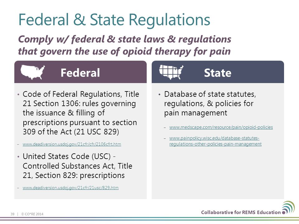 Collaborative for REMS Education Federal & State Regulations 39 | © CO*RE 2014 Comply w/ federal & state laws & regulations that govern the use of opioid therapy for pain Code of Federal Regulations, Title 21 Section 1306: rules governing the issuance & filling of prescriptions pursuant to section 309 of the Act (21 USC 829) – www.deadiversion.usdoj.gov/21cfr/cfr/2106cfrt.htm www.deadiversion.usdoj.gov/21cfr/cfr/2106cfrt.htm United States Code (USC) - Controlled Substances Act, Title 21, Section 829: prescriptions – www.deadiversion.usdoj.gov/21cfr/21usc/829.htm www.deadiversion.usdoj.gov/21cfr/21usc/829.htm Federal Database of state statutes, regulations, & policies for pain management – www.medscape.com/resource/pain/opioid-policies www.medscape.com/resource/pain/opioid-policies – www.painpolicy.wisc.edu/database-statutes- regulations-other-policies-pain-management www.painpolicy.wisc.edu/database-statutes- regulations-other-policies-pain-management State