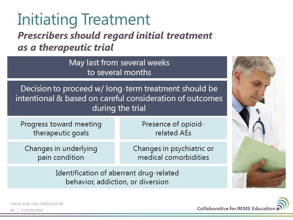 Collaborative for REMS Education Initiating Treatment 40 | © CO*RE 2014 Prescribers should regard initial treatment as a therapeutic trial May last from several weeks to several months Decision to proceed w/ long-term treatment should be intentional & based on careful consideration of outcomes during the trial Progress toward meeting therapeutic goals Presence of opioid- related AEs Changes in underlying pain condition Changes in psychiatric or medical comorbidities Identification of aberrant drug-related behavior, addiction, or diversion Chou R, et al.