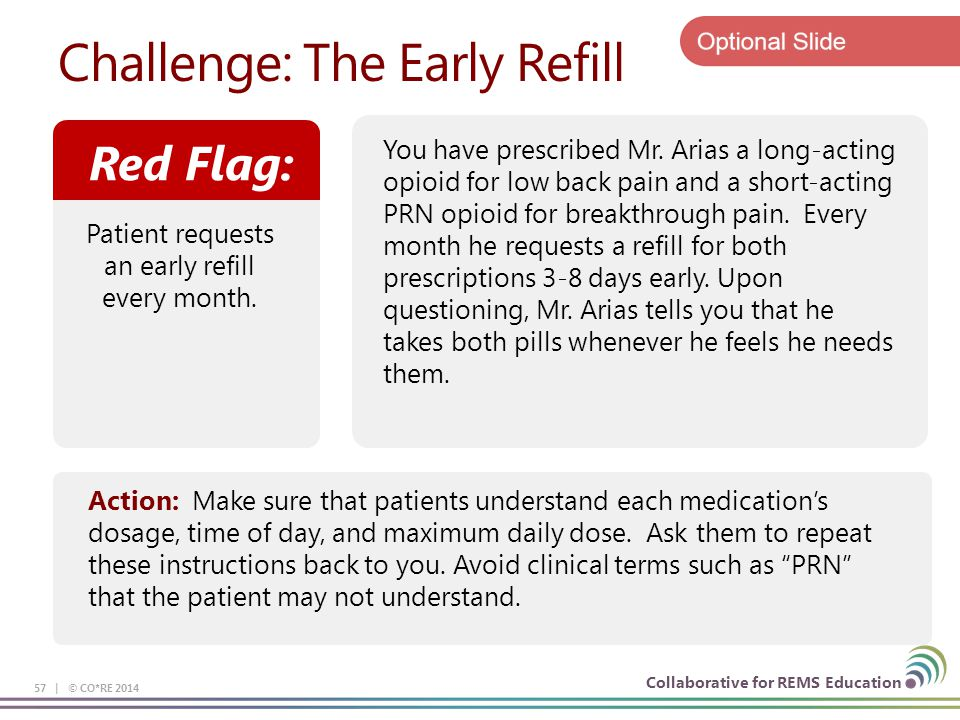 Collaborative for REMS Education Challenge: The Early Refill 57 | © CO*RE 2014 Action: Make sure that patients understand each medication's dosage, ti