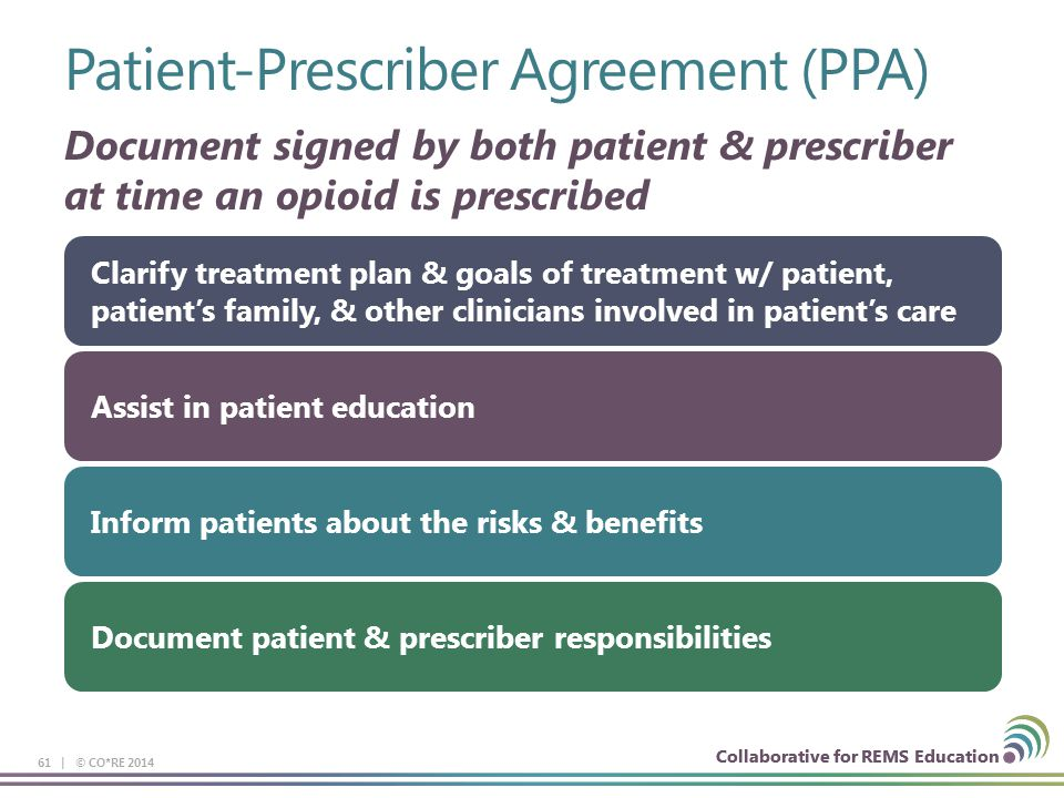 Collaborative for REMS Education Patient-Prescriber Agreement (PPA) 61 | © CO*RE 2014 Collaborative for REMS Education Document signed by both patient