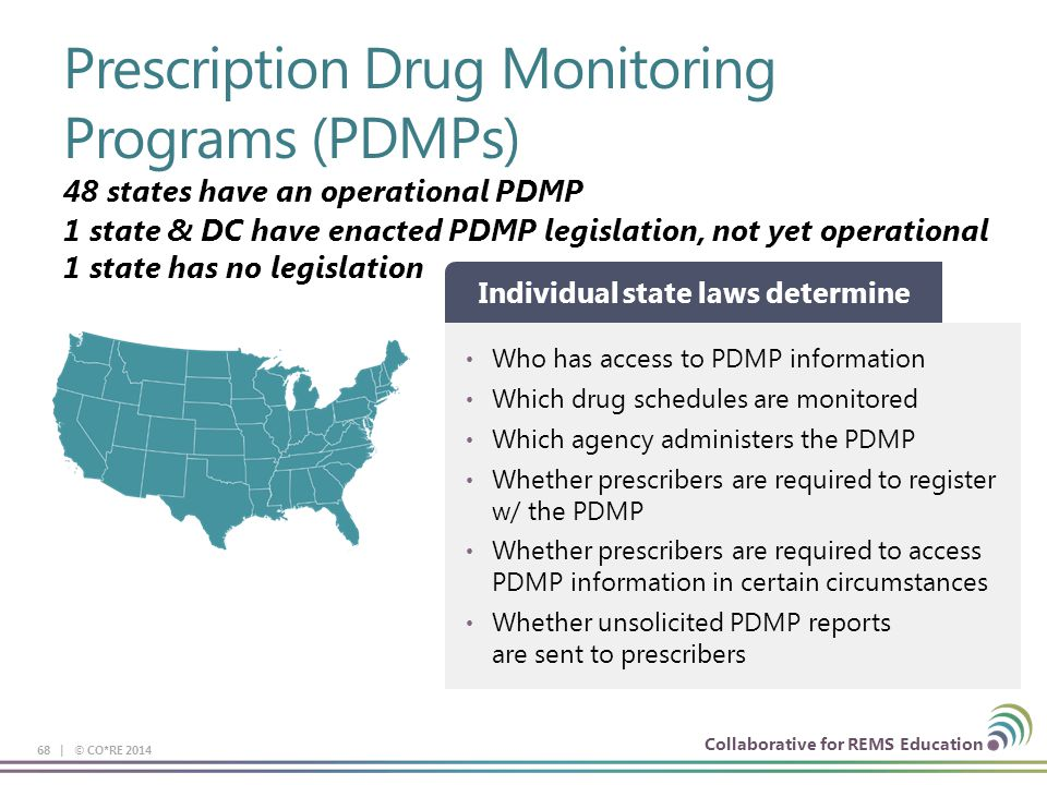 Collaborative for REMS Education Prescription Drug Monitoring Programs (PDMPs) 68 | © CO*RE 2014 48 states have an operational PDMP Who has access to PDMP information Which drug schedules are monitored Which agency administers the PDMP Whether prescribers are required to register w/ the PDMP Whether prescribers are required to access PDMP information in certain circumstances Whether unsolicited PDMP reports are sent to prescribers Individual state laws determine 1 state & DC have enacted PDMP legislation, not yet operational 1 state has no legislation
