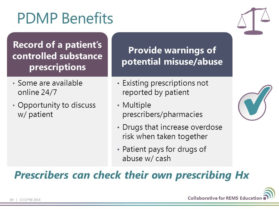 Collaborative for REMS Education PDMP Benefits 69 | © CO*RE 2014 Some are available online 24/7 Opportunity to discuss w/ patient Record of a patient's controlled substance prescriptions Existing prescriptions not reported by patient Multiple prescribers/pharmacies Drugs that increase overdose risk when taken together Patient pays for drugs of abuse w/ cash Provide warnings of potential misuse/abuse Prescribers can check their own prescribing Hx
