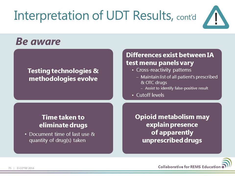 Collaborative for REMS Education Interpretation of UDT Results, cont'd 75 | © CO*RE 2014 Be aware Differences exist between IA test menu panels vary C