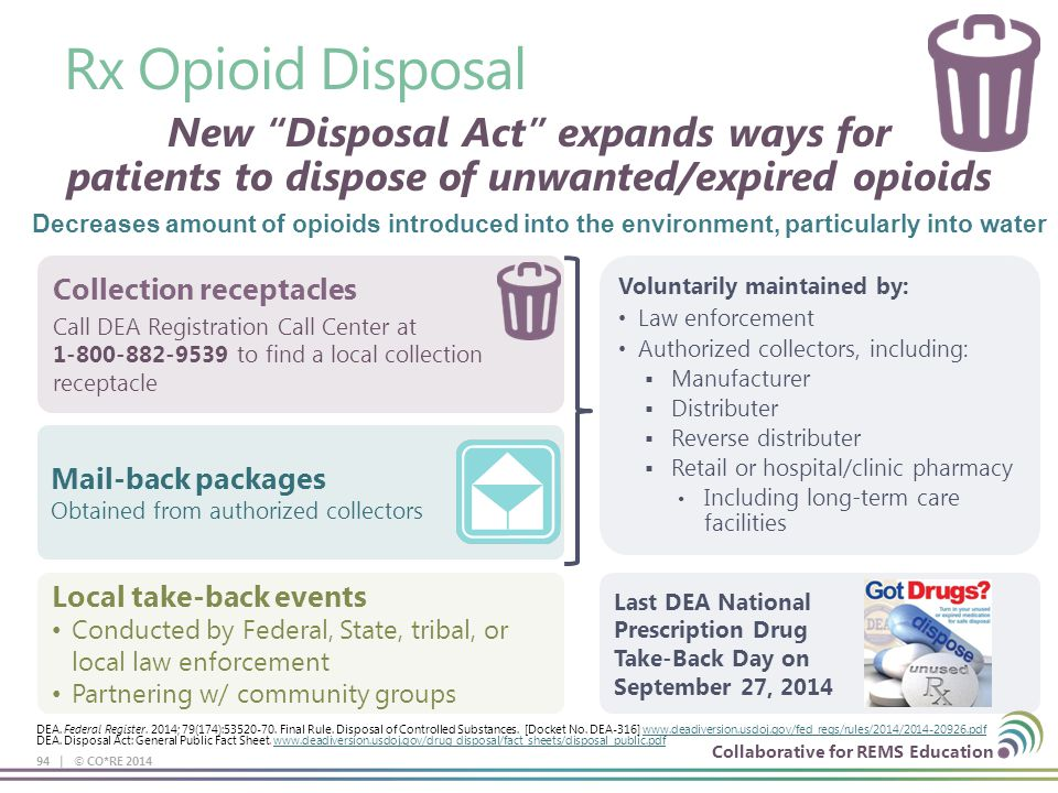 Collaborative for REMS Education Rx Opioid Disposal 94 | © CO*RE 2014 New Disposal Act expands ways for patients to dispose of unwanted/expired opioids Collection receptacles Call DEA Registration Call Center at 1-800-882-9539 to find a local collection receptacle Mail-back packages Obtained from authorized collectors Local take-back events Conducted by Federal, State, tribal, or local law enforcement Partnering w/ community groups Voluntarily maintained by: Law enforcement Authorized collectors, including:  Manufacturer  Distributer  Reverse distributer  Retail or hospital/clinic pharmacy Including long-term care facilities Last DEA National Prescription Drug Take-Back Day on September 27, 2014 Decreases amount of opioids introduced into the environment, particularly into water DEA.