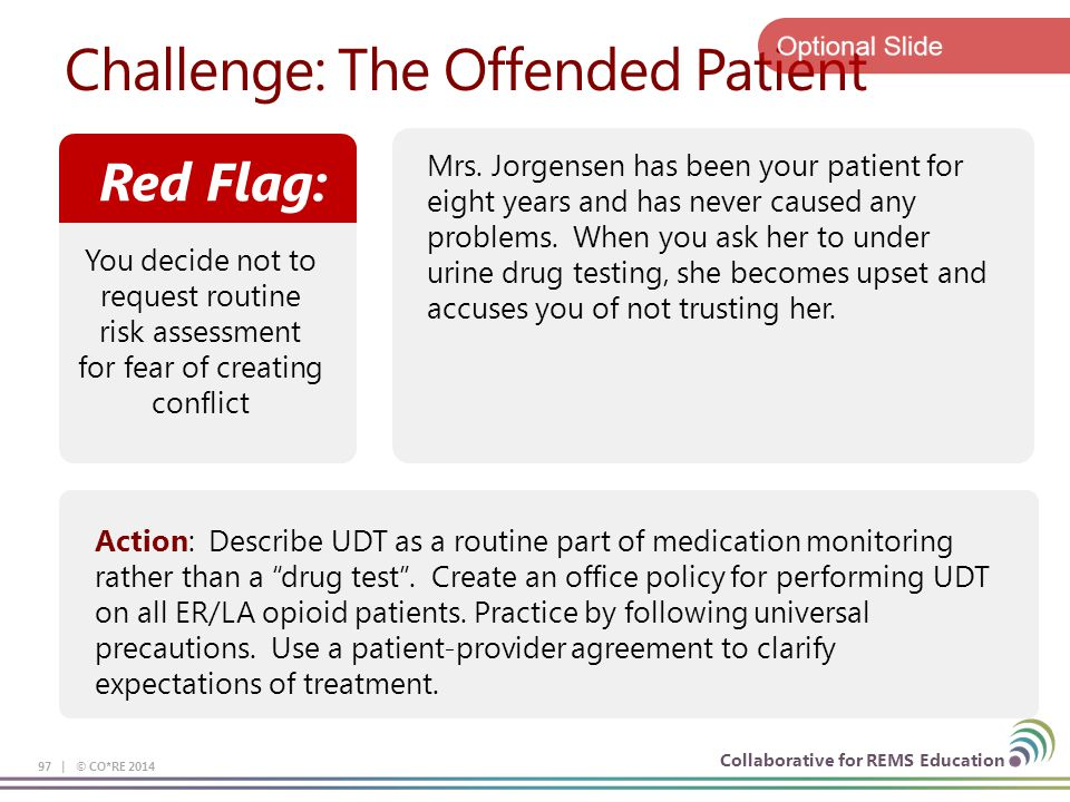 Collaborative for REMS Education Challenge: The Offended Patient 97 | © CO*RE 2014 Red Flag: You decide not to request routine risk assessment for fear of creating conflict Mrs.