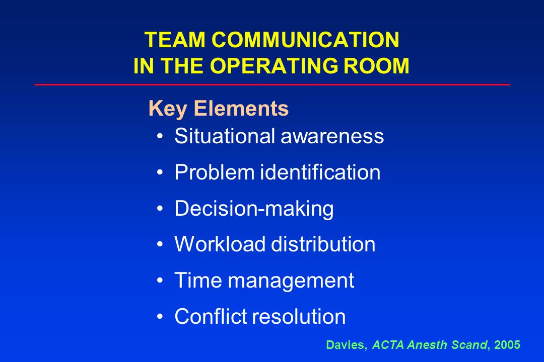 Situational awareness Problem identification Decision-making Workload distribution Time management Conflict resolution TEAM COMMUNICATION IN THE OPERATING ROOM Key Elements Davies, ACTA Anesth Scand, 2005