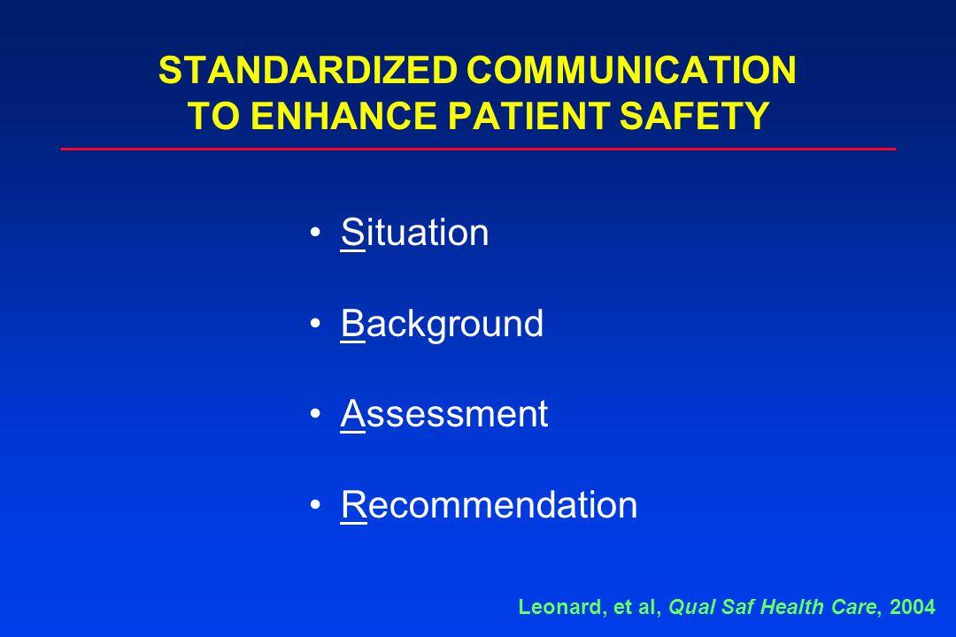 Situation Background Assessment Recommendation STANDARDIZED COMMUNICATION TO ENHANCE PATIENT SAFETY Leonard, et al, Qual Saf Health Care, 2004