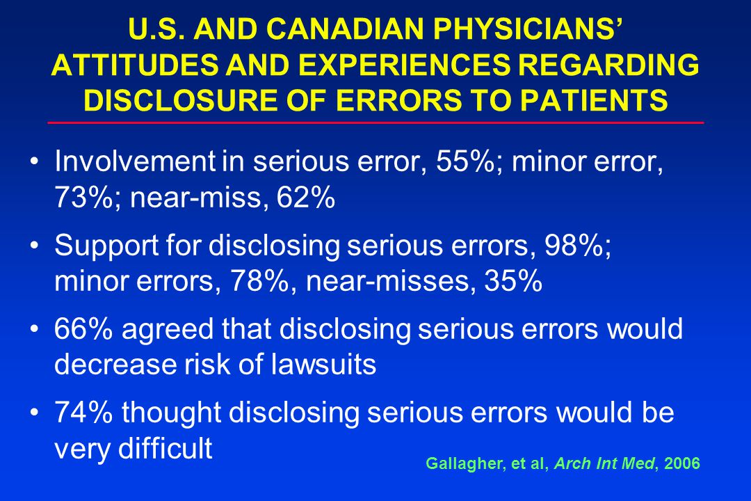 U.S. AND CANADIAN PHYSICIANS' ATTITUDES AND EXPERIENCES REGARDING DISCLOSURE OF ERRORS TO PATIENTS Involvement in serious error, 55%; minor error, 73%