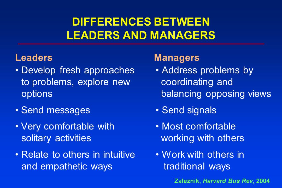 DIFFERENCES BETWEEN LEADERS AND MANAGERS Develop fresh approaches Address problems by to problems, explore new coordinating and options balancing oppo