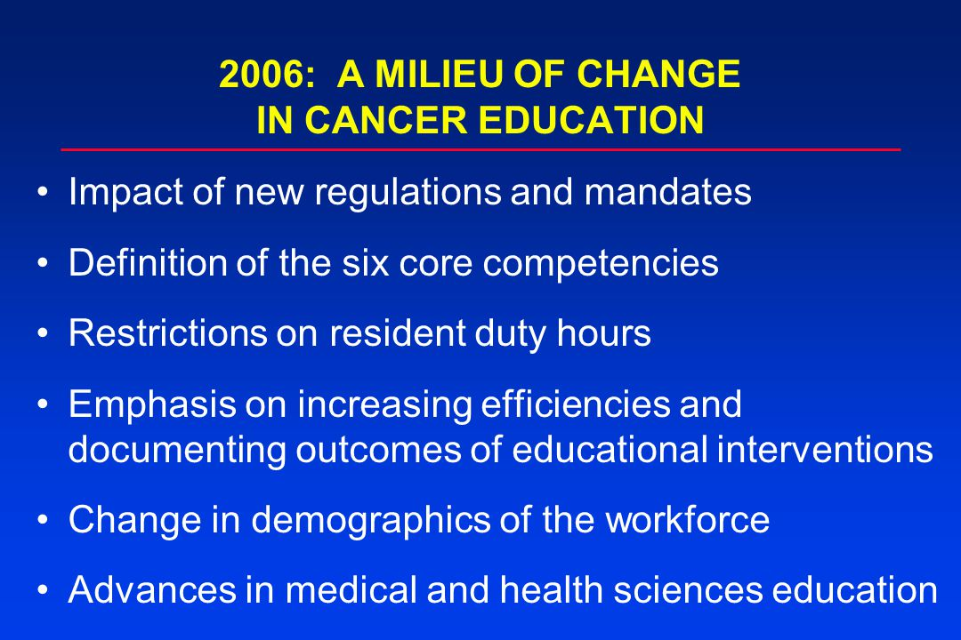 2006: A MILIEU OF CHANGE IN CANCER EDUCATION Impact of new regulations and mandates Definition of the six core competencies Restrictions on resident duty hours Emphasis on increasing efficiencies and documenting outcomes of educational interventions Change in demographics of the workforce Advances in medical and health sciences education