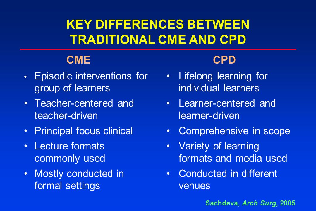 KEY DIFFERENCES BETWEEN TRADITIONAL CME AND CPD Episodic interventions for Lifelong learning for group of learnersindividual learners Teacher-centered and Learner-centered and teacher-drivenlearner-driven Principal focus clinicalComprehensive in scope Lecture formats Variety of learning commonly usedformats and media used Mostly conducted in Conducted in different formal settingsvenues CME CPD Sachdeva, Arch Surg, 2005