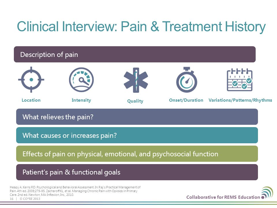 Collaborative for REMS Education Clinical Interview: Pain & Treatment History 16 | © CO*RE 2013 LocationIntensityOnset/DurationVariations/Patterns/Rhythms What relieves the pain.