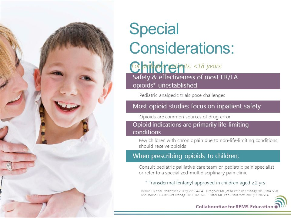 Collaborative for REMS Education Special Considerations: Children 29 | © CO*RE 2013 For pediatric patients, <18 years: * Transdermal fentanyl approved