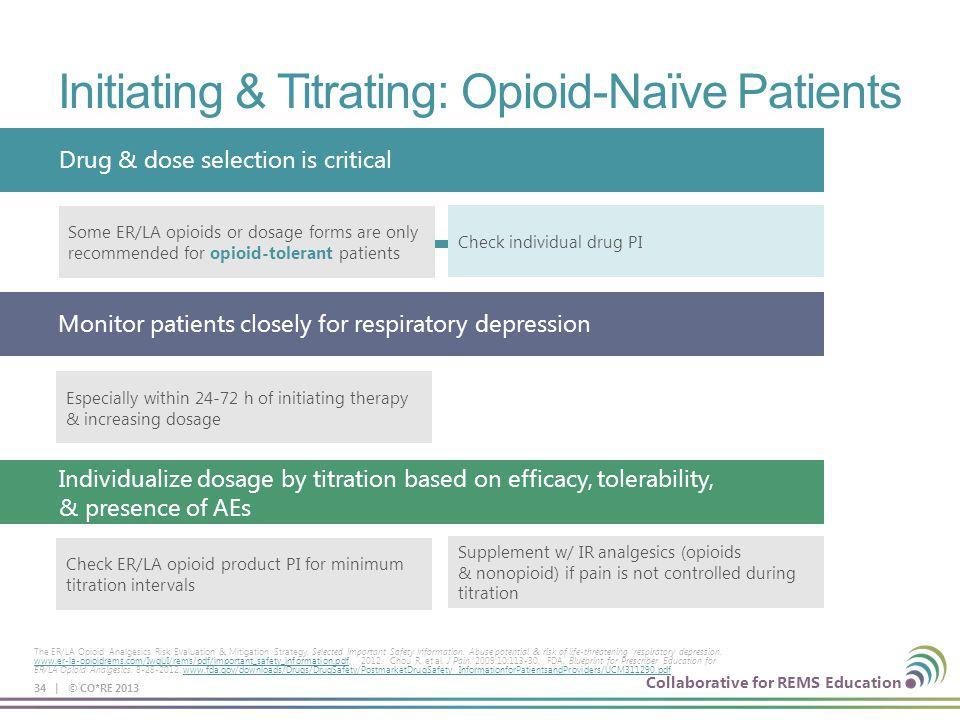 Collaborative for REMS Education Initiating & Titrating: Opioid-Naïve Patients 34 | © CO*RE 2013 The ER/LA Opioid Analgesics Risk Evaluation & Mitigat