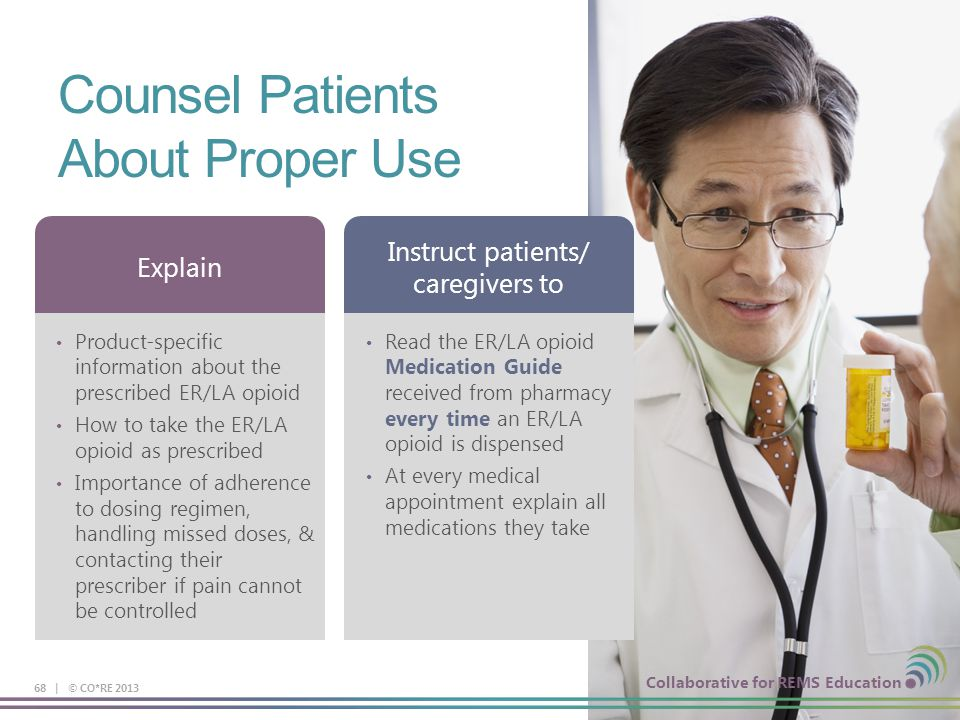 Collaborative for REMS Education Counsel Patients About Proper Use 68 | © CO*RE 2013 Product-specific information about the prescribed ER/LA opioid Ho
