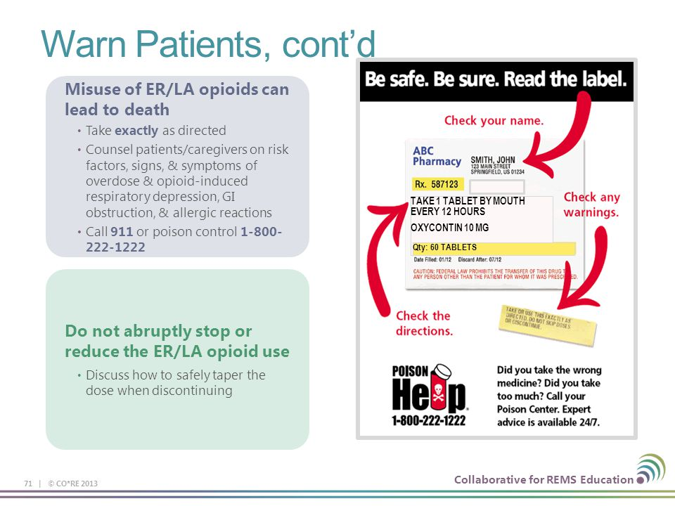 Collaborative for REMS Education Warn Patients, cont'd 71 | © CO*RE 2013 Misuse of ER/LA opioids can lead to death Take exactly as directed Counsel pa