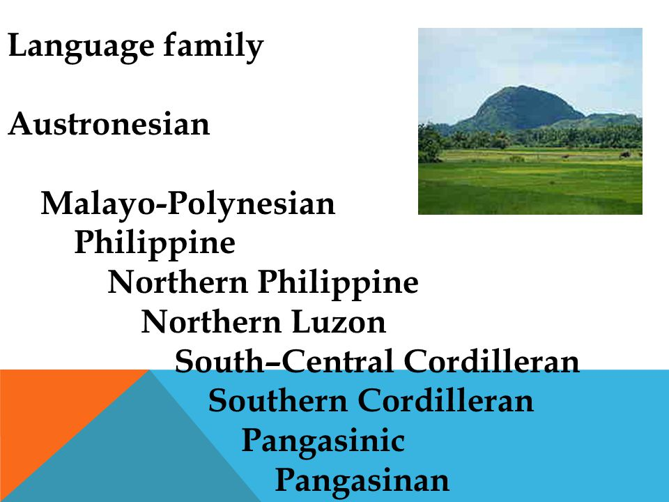 Language family Austronesian Malayo-Polynesian Philippine Northern Philippine Northern Luzon South–Central Cordilleran Southern Cordilleran Pangasinic Pangasinan
