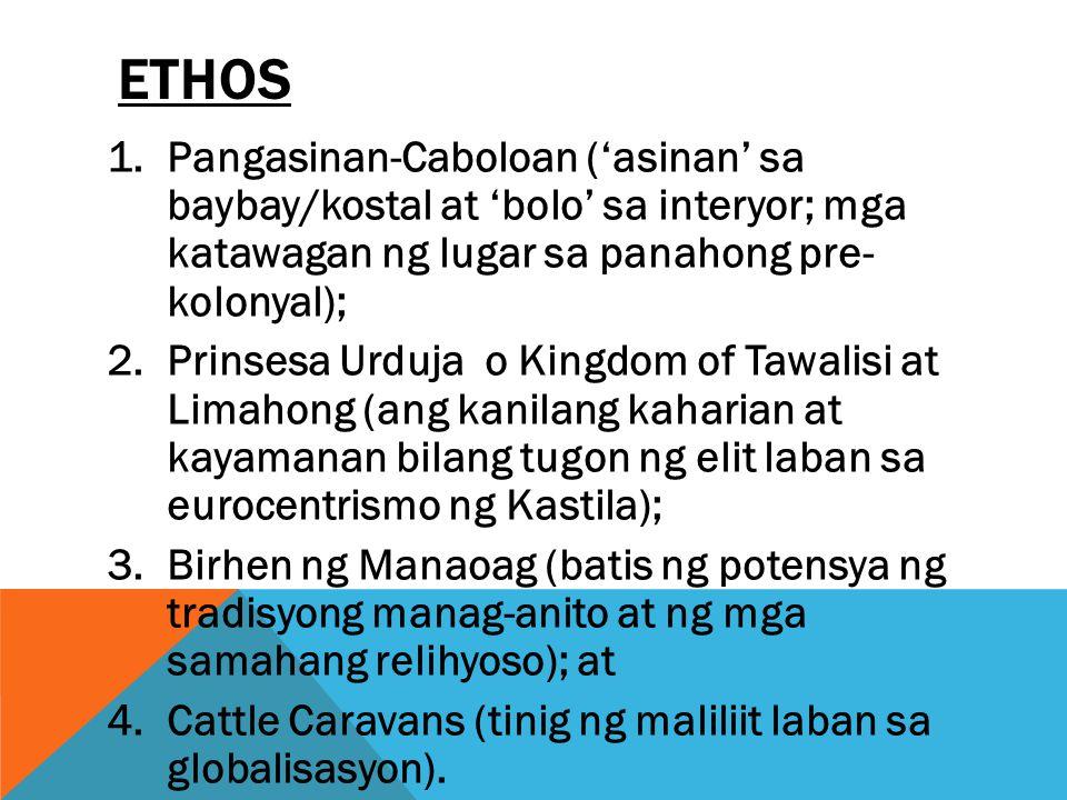 ETHOS 1.Pangasinan-Caboloan ('asinan' sa baybay/kostal at 'bolo' sa interyor; mga katawagan ng lugar sa panahong pre- kolonyal); 2.Prinsesa Urduja o K