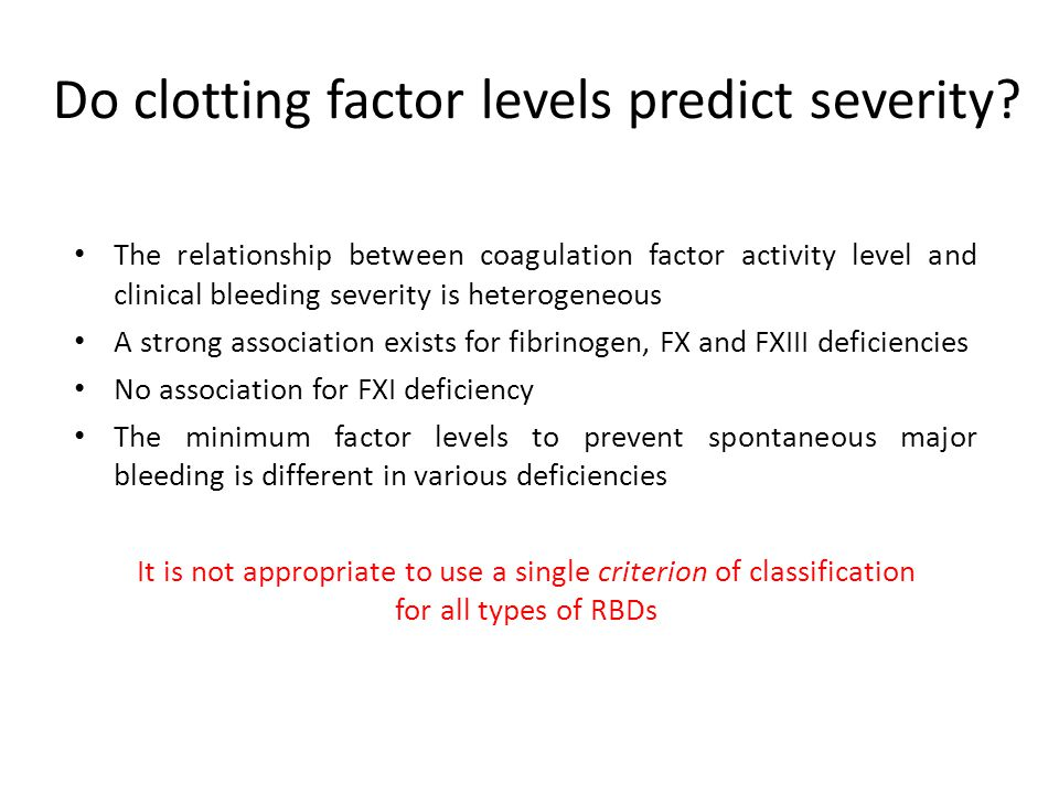 Do clotting factor levels predict severity? The relationship between coagulation factor activity level and clinical bleeding severity is heterogeneous